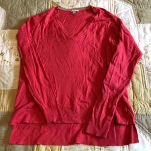Gap pink XS V-neck cotton and silk sweater